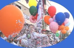 Karneval Ballons und Konfetti