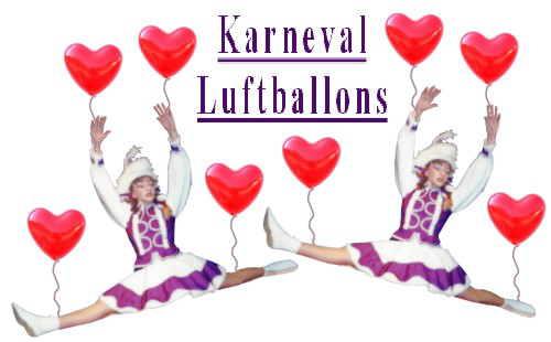 Karneval und Fasching, Tanzmariechen Herzluftballons
